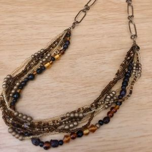 Earth tone & gold handmade necklace